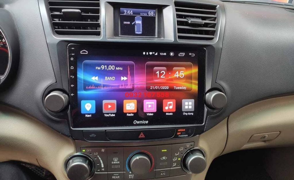 Lắp màn hình Android cho Toyota Highlander