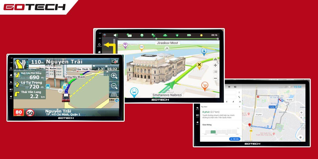 3 phần mềm bản đồ chỉ đường thông minh trên màn hình ô tô GOTECH