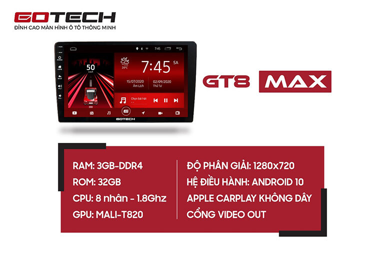 Cấu hình DVD Android Gotech GT8 Max