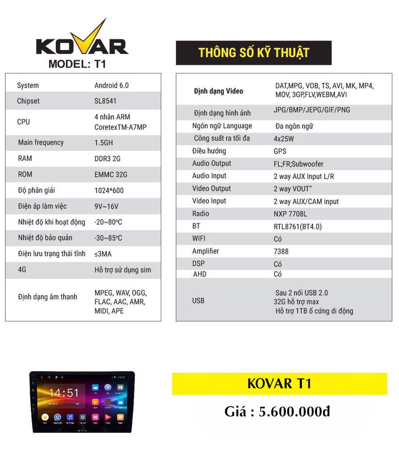 Bảng báo giá màn hình Kovar T1